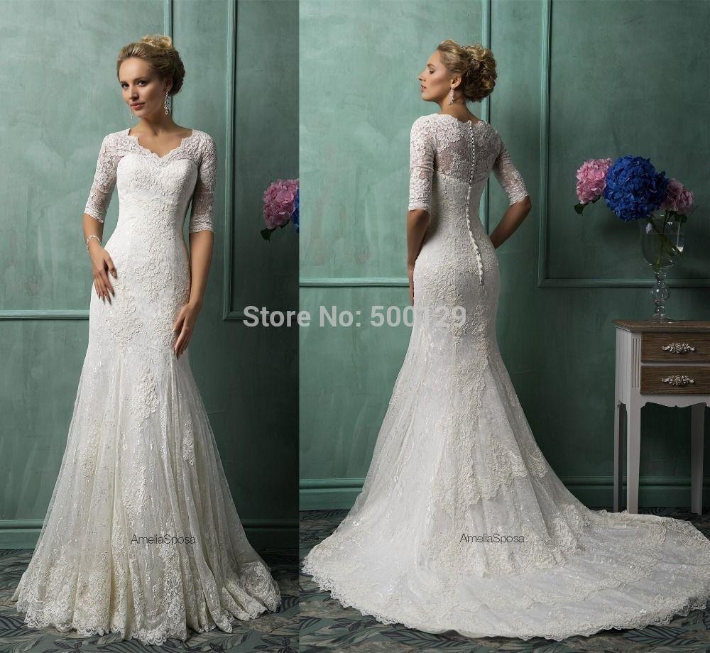New designs vintage v neck applique mermaid formal long lace