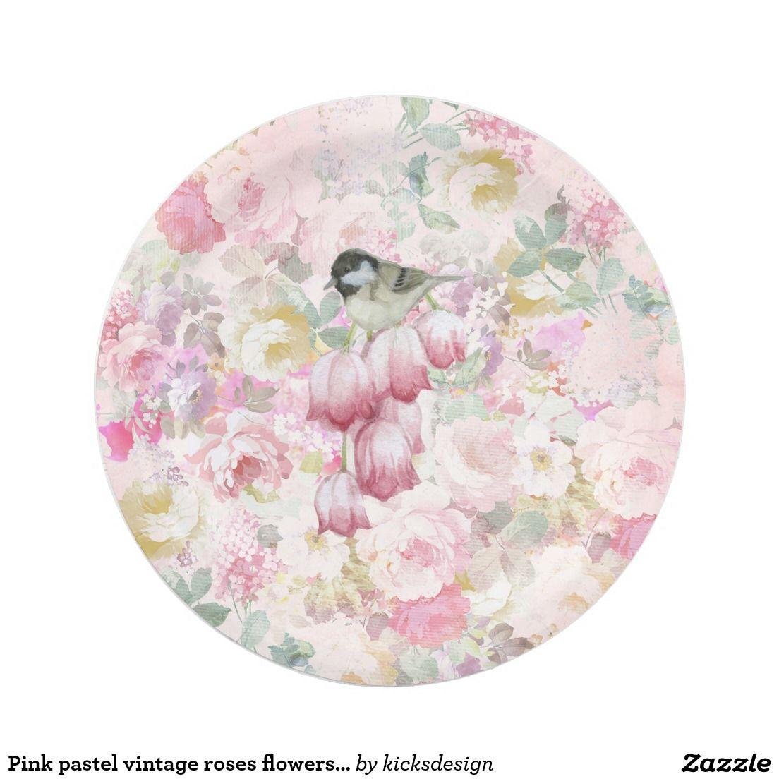 Pink pastel vintage roses flowers bird painting paper plate | shower ...