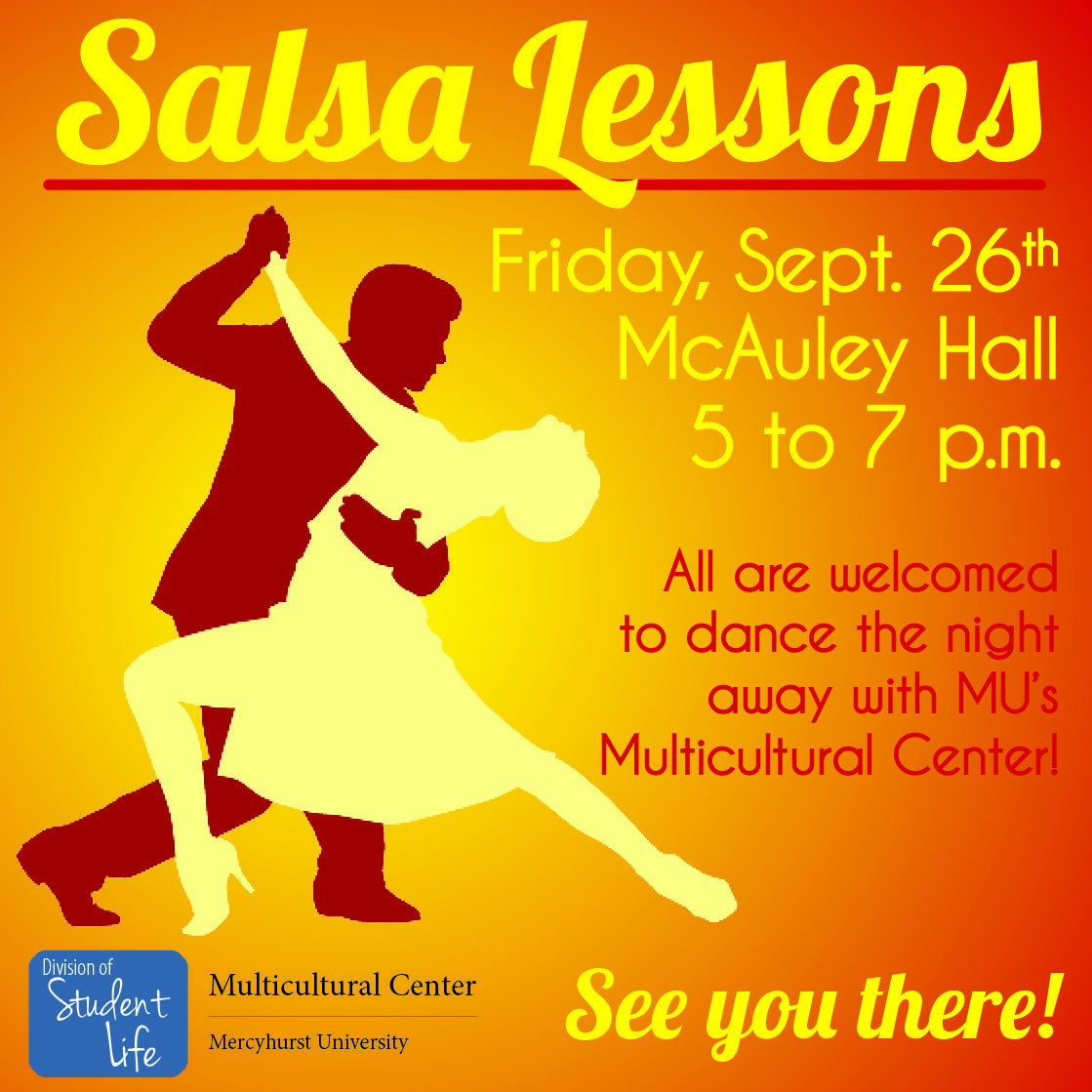 FREE salsa lessons from Mercyhurst's Multicultural Center in honor of National Hispanic Heritage Month