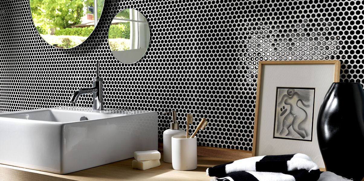 Black Penny Tile By Lea Ceramiche Penny Tile Bathroom Feature Wall