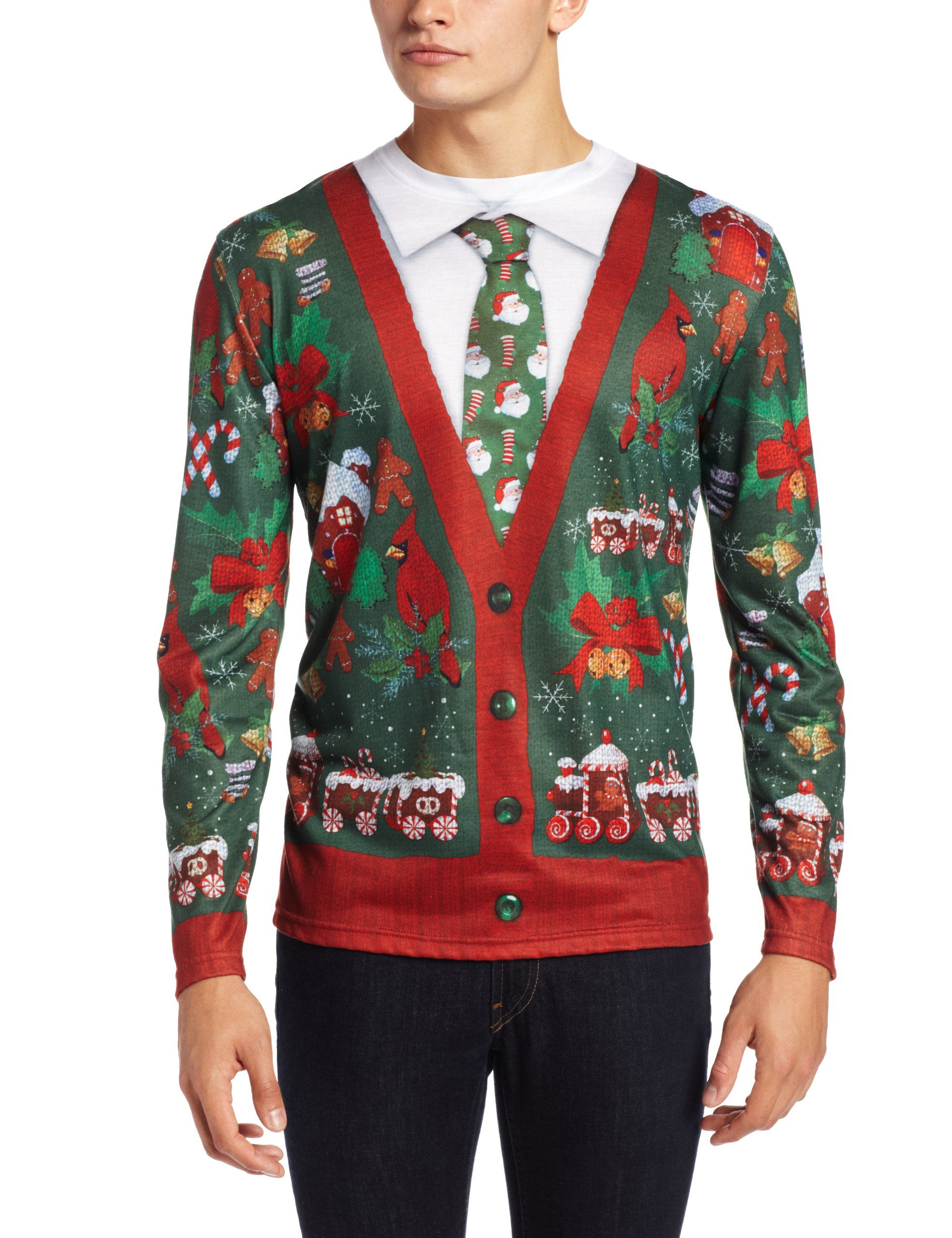 Faux Real Mens 3D Photo-Realistic Ugly Christmas Sweater Long Sleeve T-Shirt