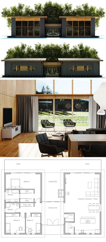 L Idee De Separer L Espace Nuit Et L Espace De Vie Par Le Hall M Enchante Cote Isolation Je Ne Suis P Modern House Plans Building A Container Home House Plans