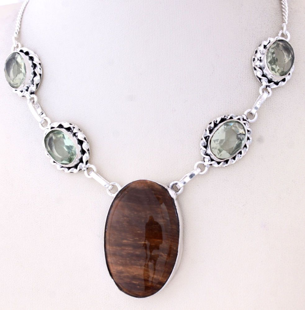 ALLURING HIGH FASHION TIGER EYE-GREEN AMETHYST 925STERLING SILVER NECKLACE S0146 #925silverpalace #Charm