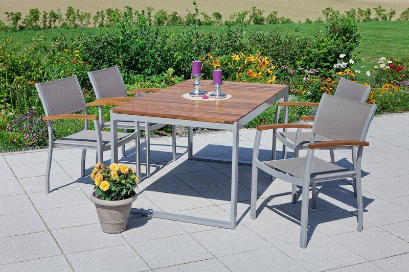 Merxx Gartenmobelset Naxos 5tlg 4 Sessel Tisch Stapelbar