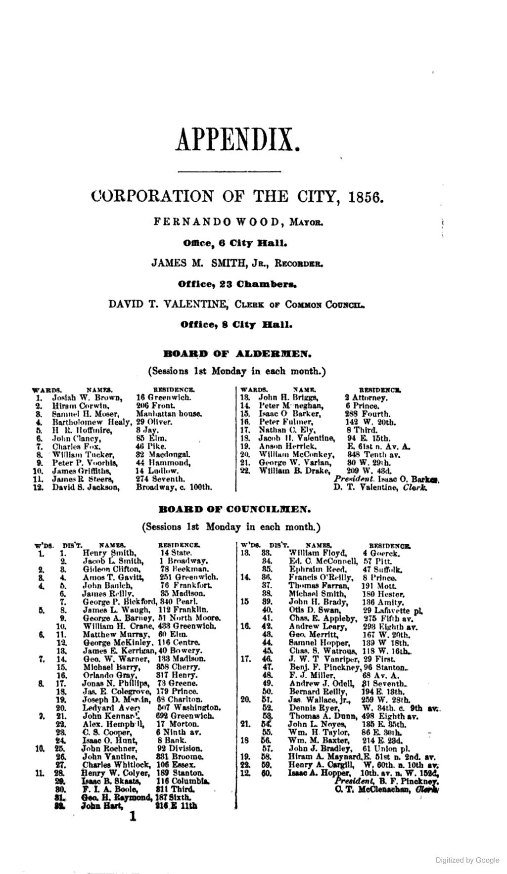 1856 Board Of Aldermen Councilmen New York New York City City