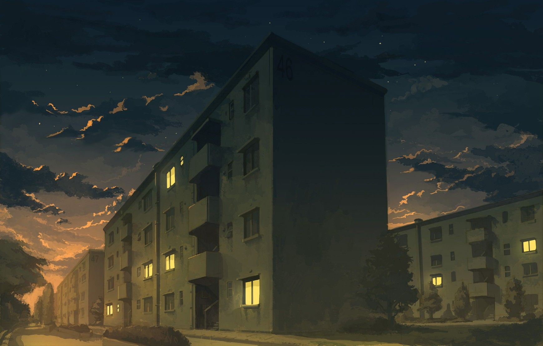 Building Anime Apartments City Artwork Night Wallpaper