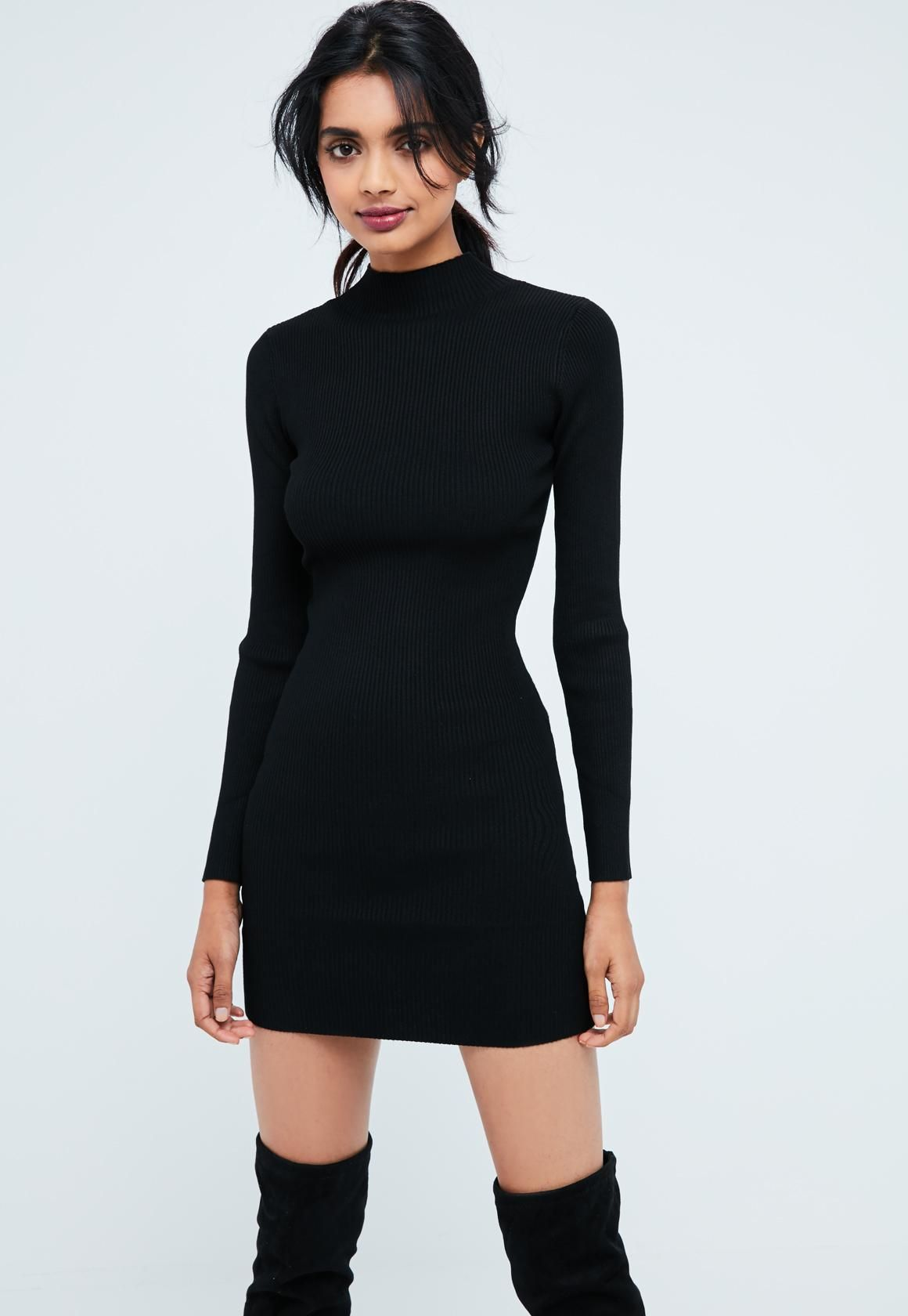 c2a5c2a11b Missguided Black Basic High Neck Long Sleeve Sweater Dress