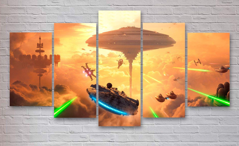Millennium Falcon - Star Wars Movie 5 Panel / Piece Canvas - Wall ...