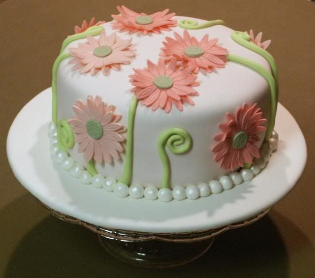 Salmon Birthday Cake: Fun Floral Cake Confection With Salmon-pink Blooms And