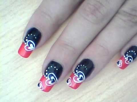 Black, Red & White Valentine's Nail Art Design Tutorial ...