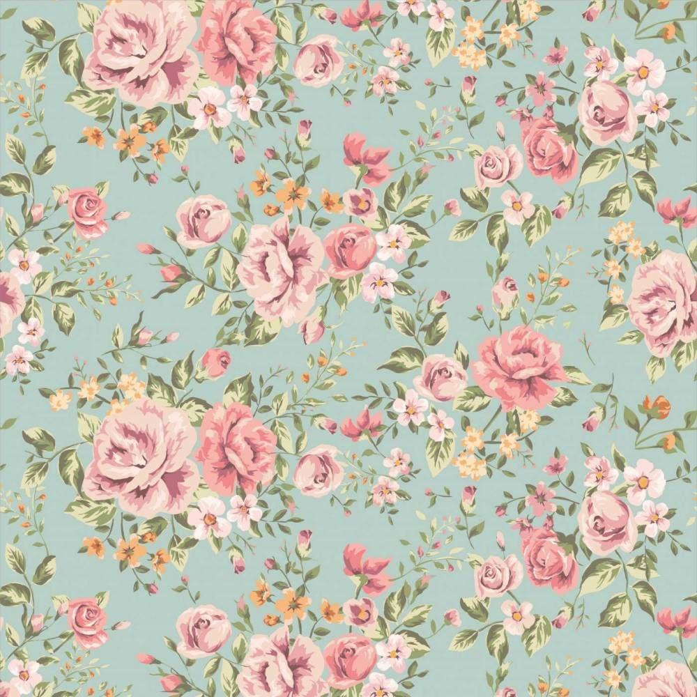 Papel de parede floral rosas em cores laranja verde e - Cenefas de papel para paredes ...