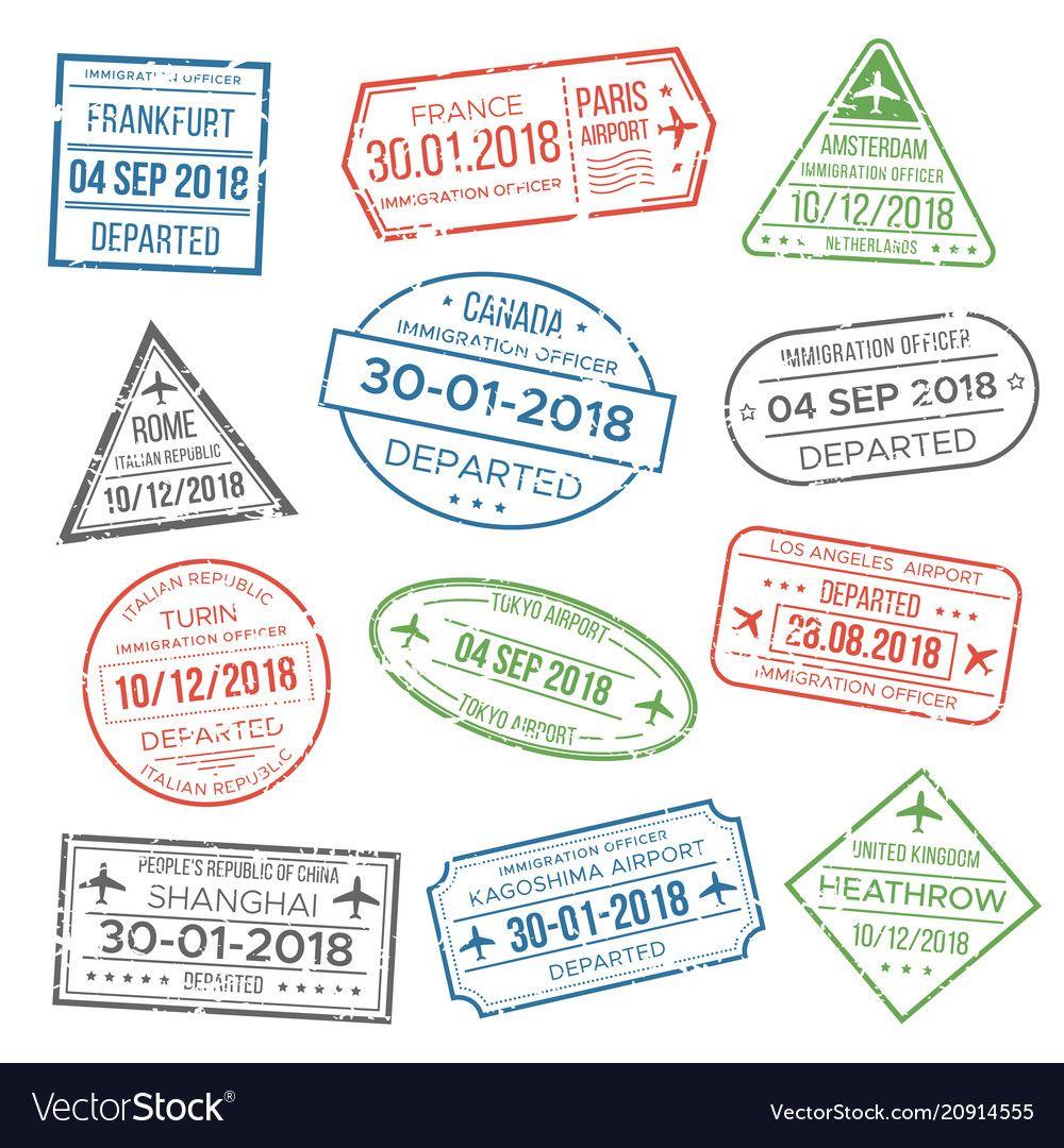 Visa Passport Blur Red Green Grey Stamp For Travel Immigration Vacation International Airport Grunge Stamps I Passport Stamps Travel Stamp Travel Symbols