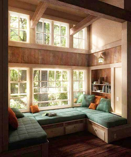 Window Seat With Green Cushions Home For Inspiration