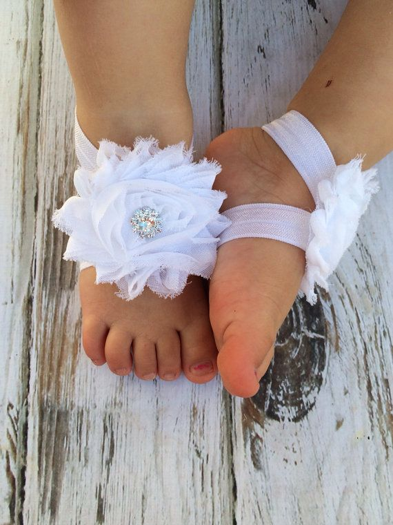 White Baby Barefoot Sandals with Rhinestone - Newborn Sandals - Baby Shoes - Photography Prop - Baptism Barefoot Sandals - Preemie Sandals on Etsy, $6.50