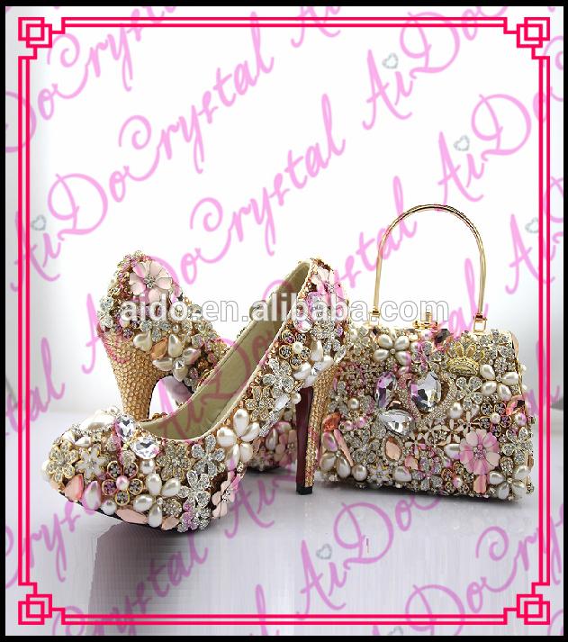 Aidocrystal New Fashion Las Crystal Marry Shoe Bag High Heel Woman Wedding And