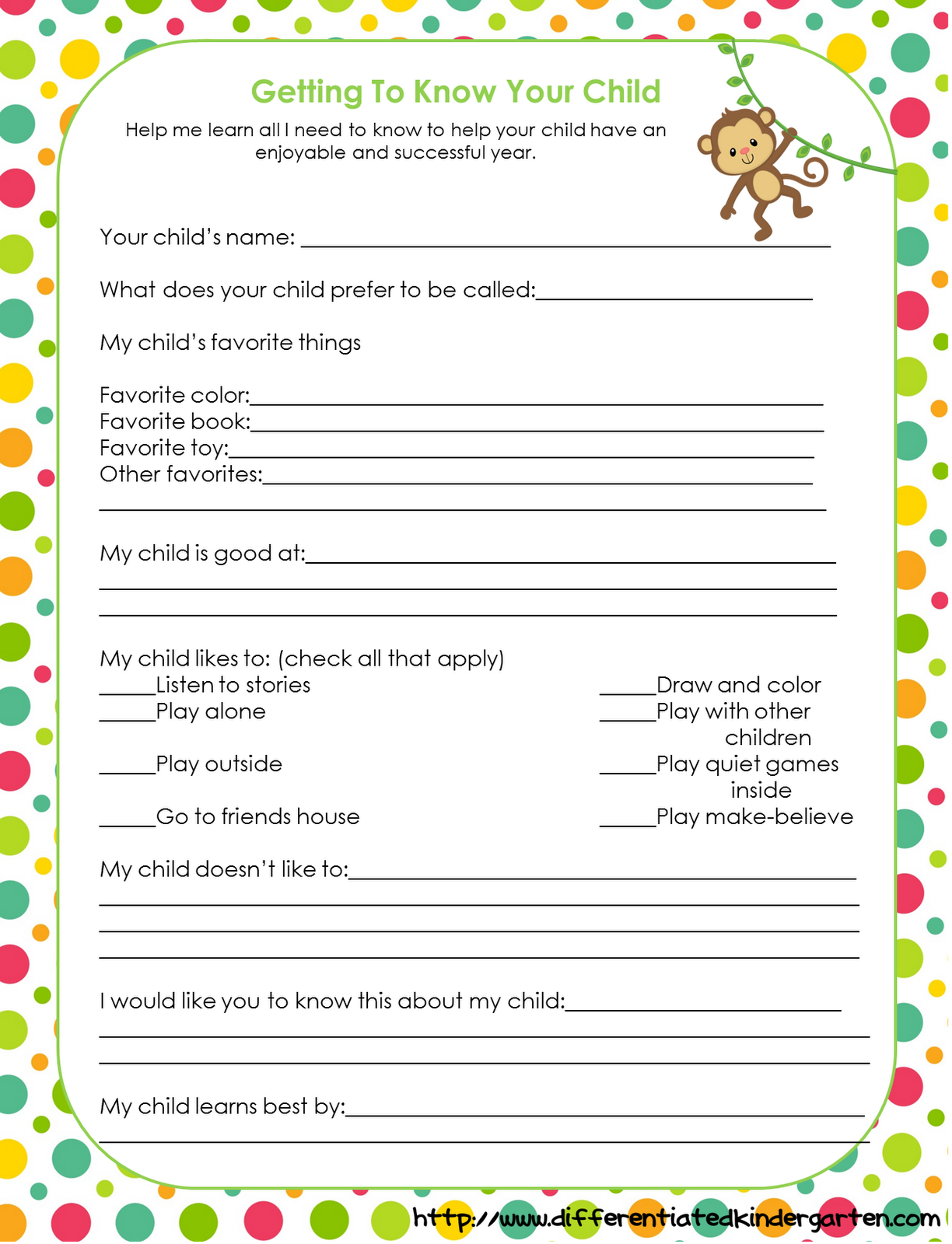 Beginning Of Year Questionnaire For Parents
