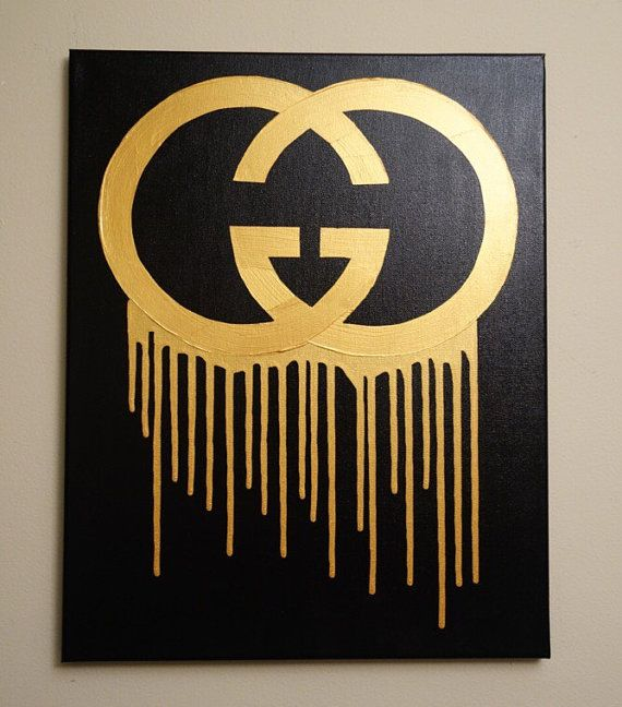 d8247515ca Gucci Drip (16x20 Acrylic Painting) Gucci Inspired Pop Art, Black and Gold,  Metallic, Home Wall Art, home decor, bedroom decor, living room decor, wall  art, ...