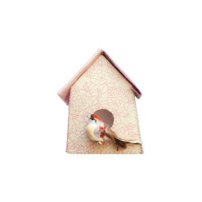 Sticker van Studio Ditte: Vogelhuisje Roze bloemen