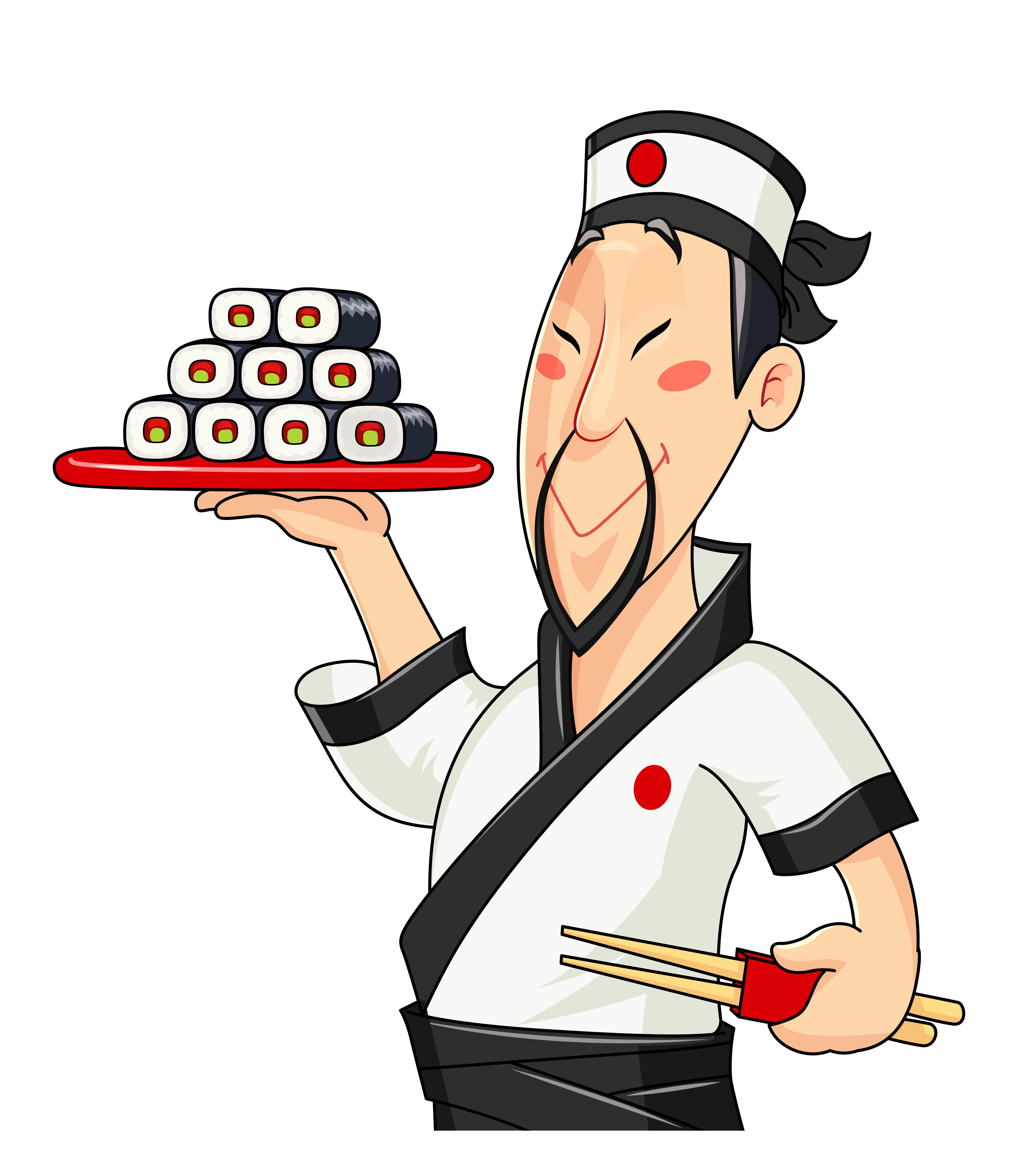 Japanese Cook With Sushi Traditional Food Profession