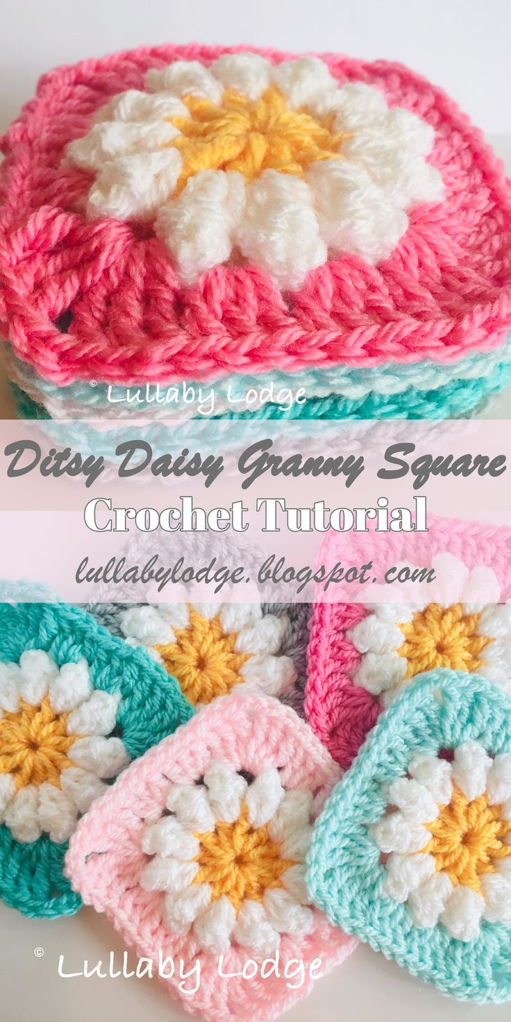 Daisy Granny Squares - Learn how to make them in this crochet tutorial by Lullaby Lodge