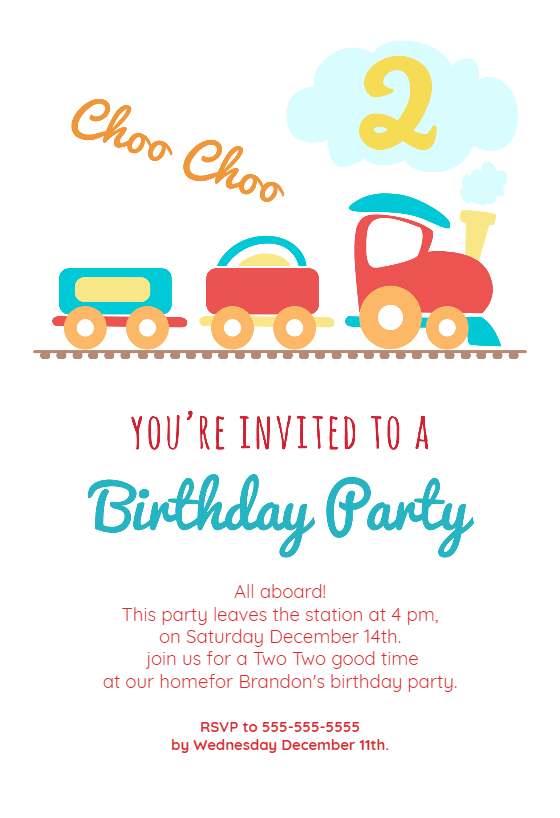 Party Invitations Templates Free Downloads Stunning 2Nd Birthday Party Train Invitation Templatecustomize Add Text .