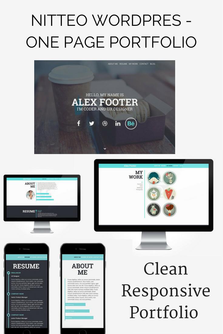 $20 Clean, responsive WordPress Theme. Portfolio, one page, resume ...