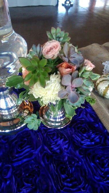 Succulent Arrangement Silver Candlesticks Rosette Linen Greensboro NC Wedding Planner Florist