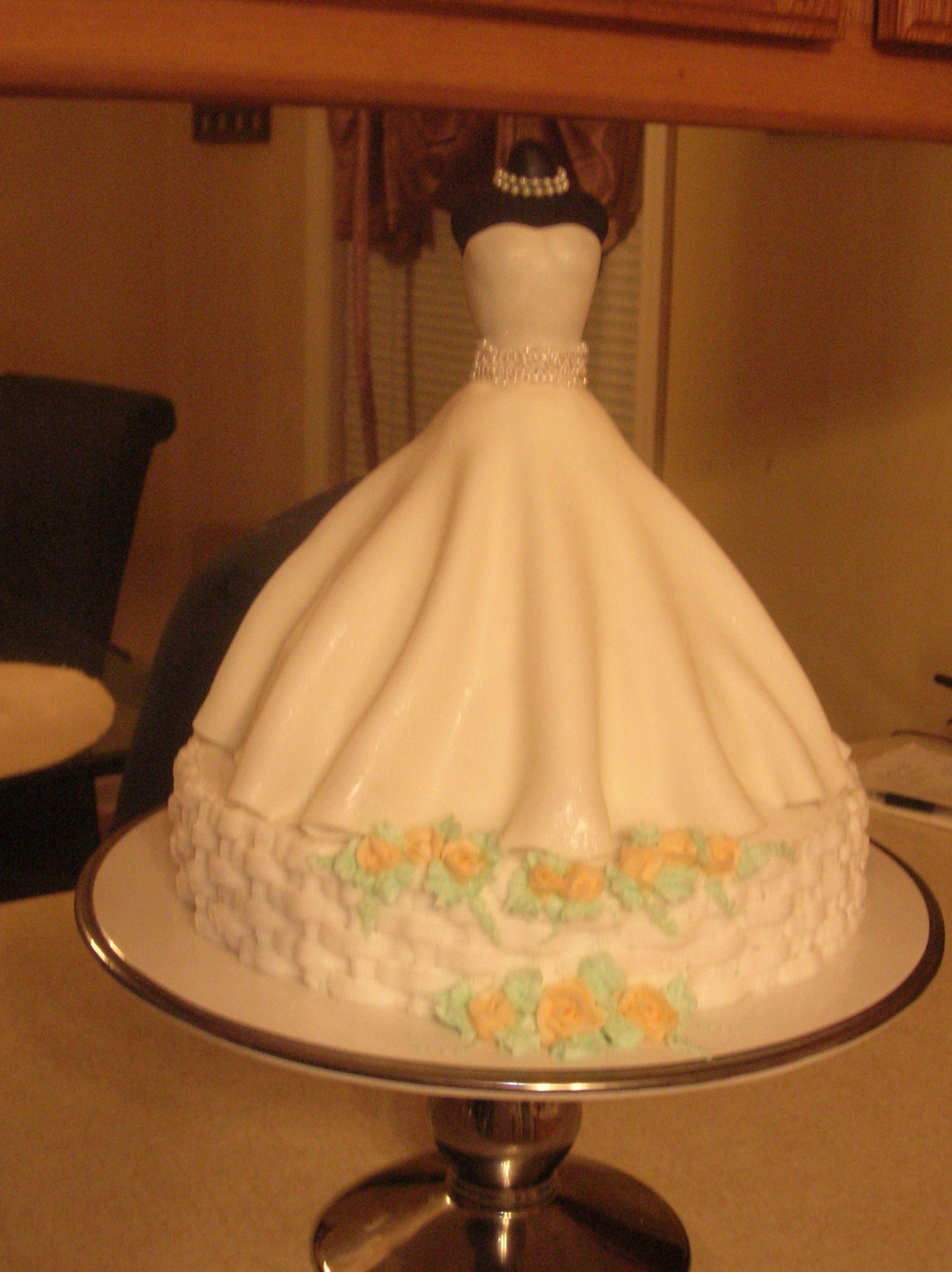 Wedding Dress Bridal shower cake (the fondant skirt covers a cake ...