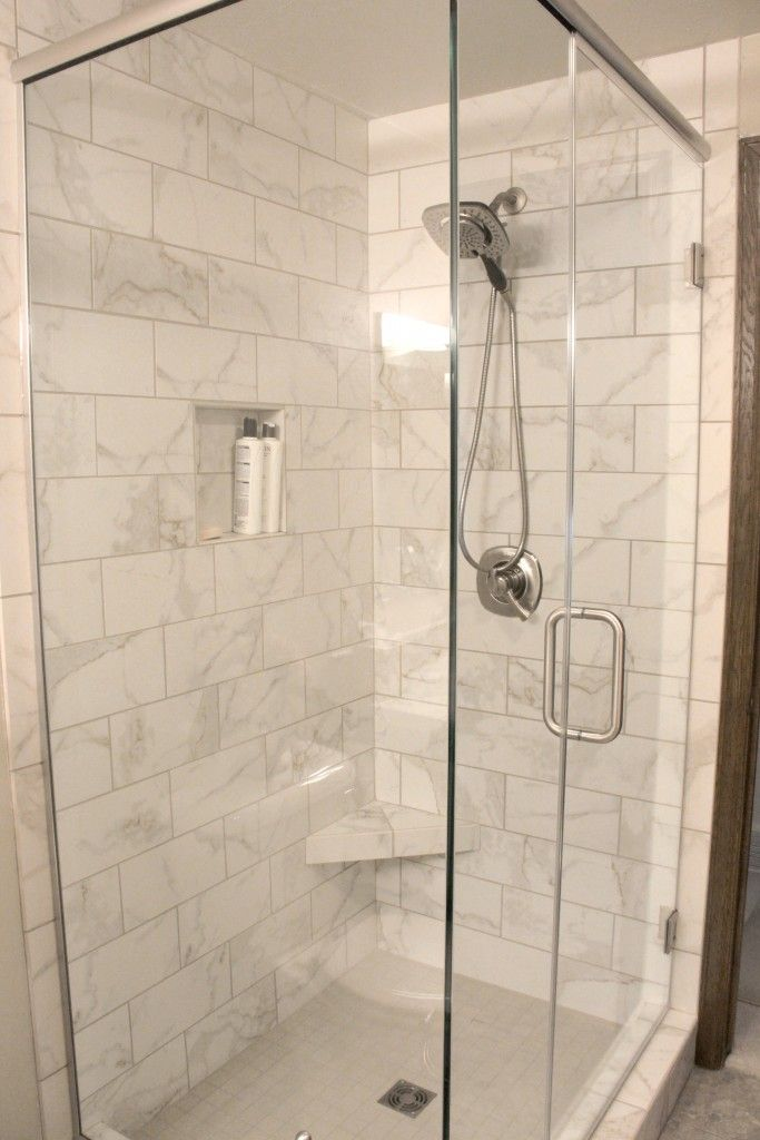White Tiled Shower with Clear Glass Shower Enclosure and Door with ...