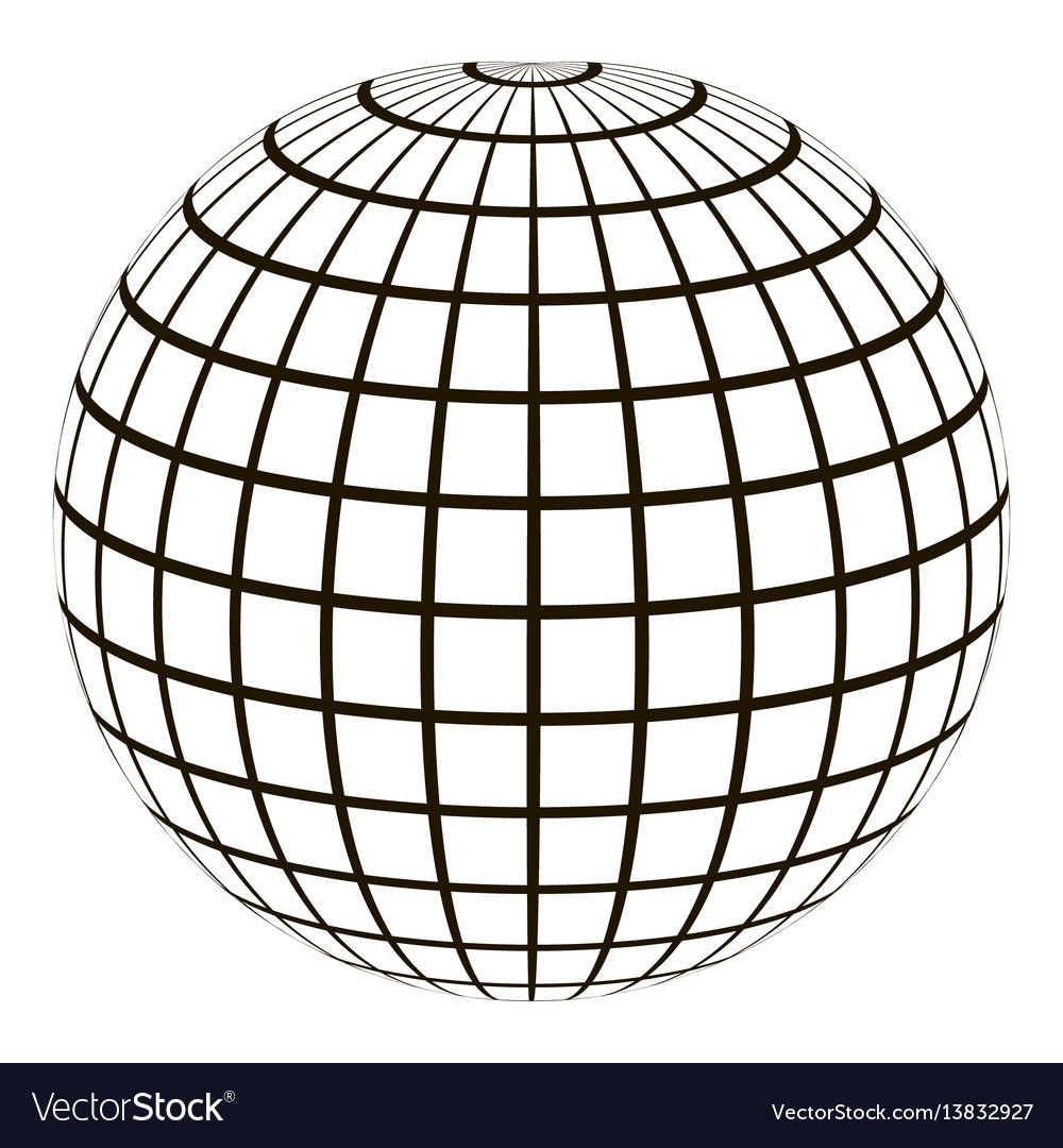 3d Globe With A Coordinate Grid Meridian And Parallel The Field Lines On The Surface Meridian And Parallel Vector Template Gr Coordinate Grid 3d Globe Vector