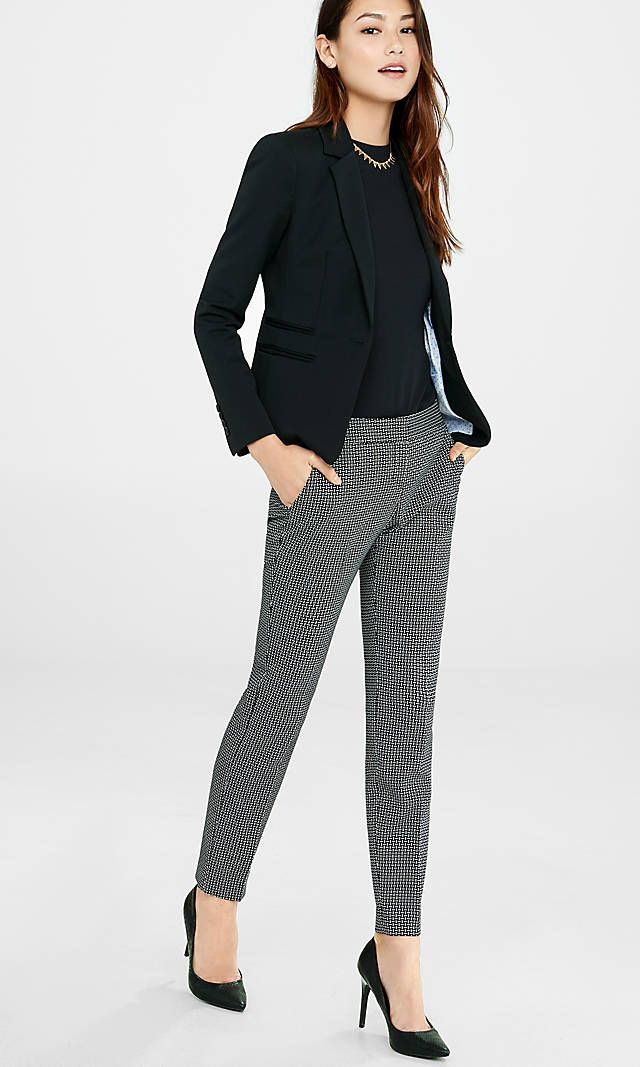 a2770ee7 Grid Pattern Columnist Ankle Pant Suit from EXPRESS | Werk in 2019 ...