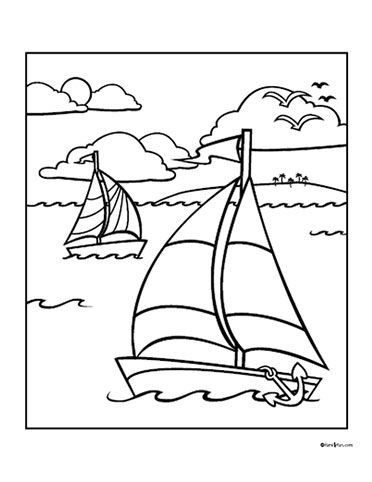 Easy Shapes Coloring Pages | Sailboat Easy Coloring activity Pages ... | 482x372