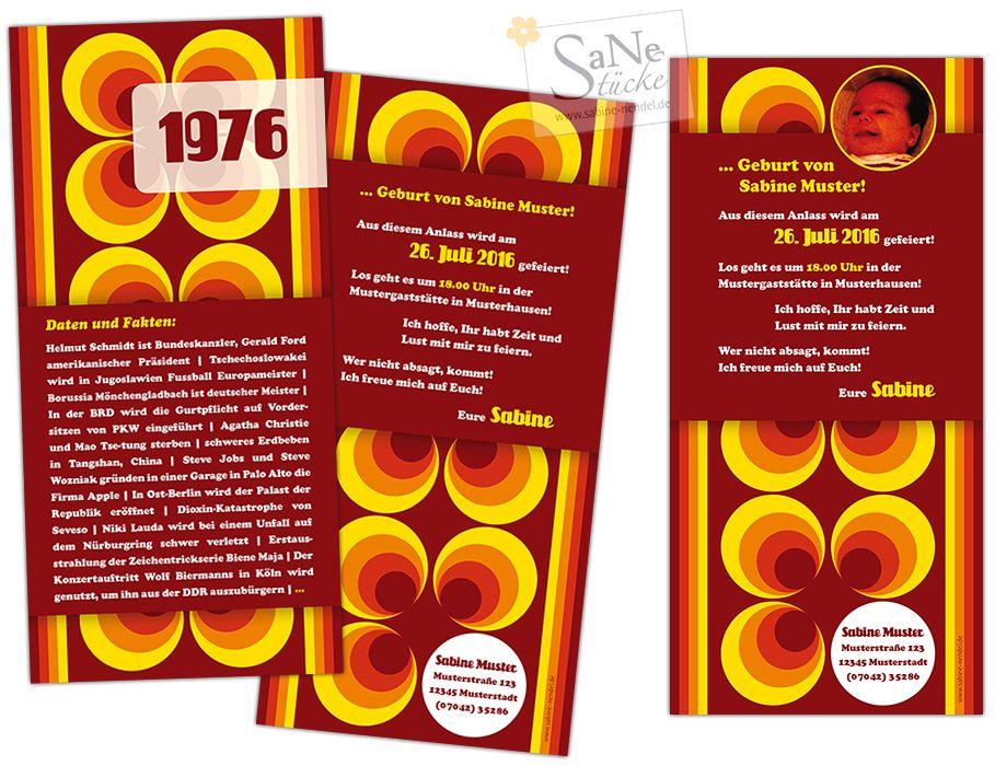 siebziger jahre einladungskarte zum geburtstag f r alle die 1976 geboren sind im retro stil. Black Bedroom Furniture Sets. Home Design Ideas