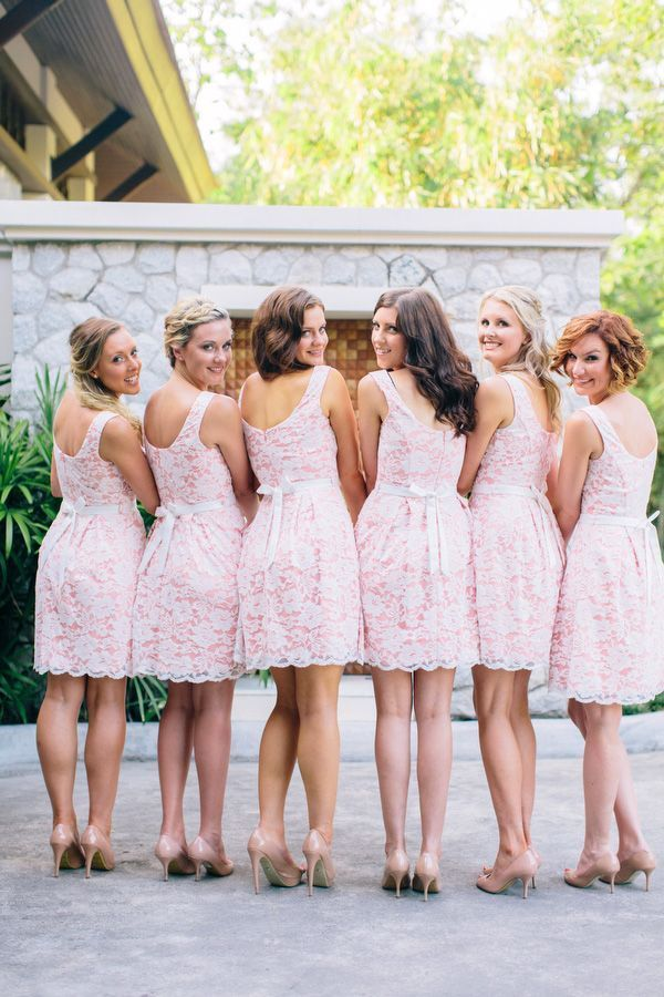 Pink and White Bridesmaid Dresses
