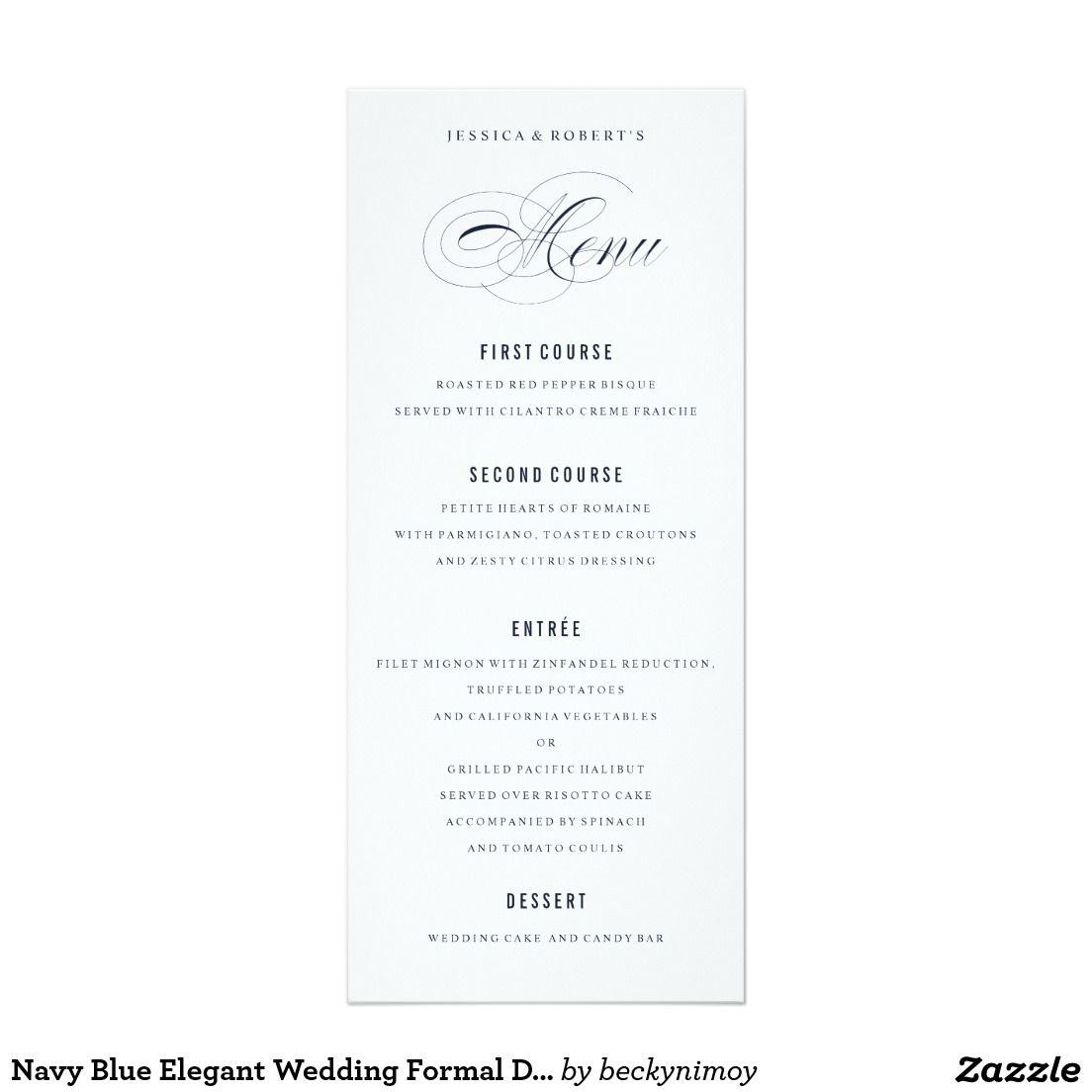Navy blue elegant wedding formal dinner menu card formal dinner navy blue elegant wedding formal dinner menu 4x925 paper invitation card stopboris Gallery