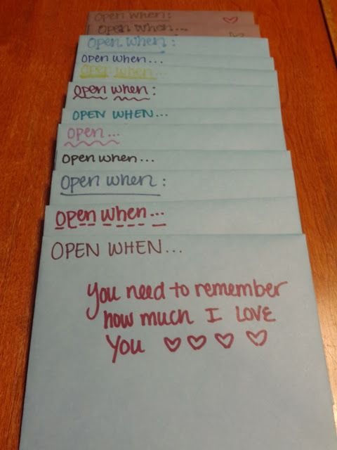 Envelopes: Open When (Follow Up). Cute idea for anniversary ...
