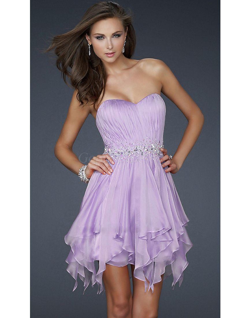 Sweetheart natural waist tencel short cocktail dress gopromdress