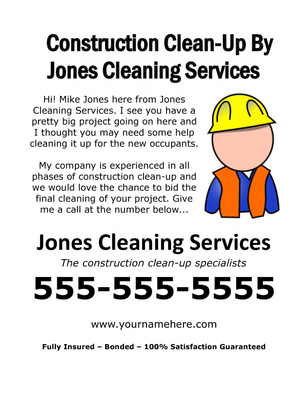 free download construction clean up flyer