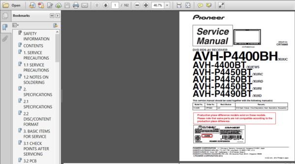 Pioneer Avh P4400bh P4400bt P4450bt P4490bt Service Manual Repair Guide Repair Guide Manual Repair