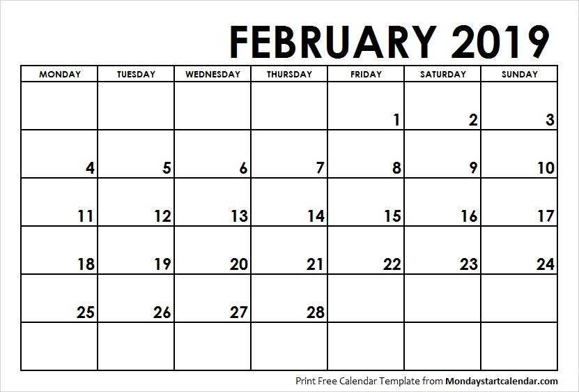 February 2019 Calendar Monday Start Monday Start 2019 calendar