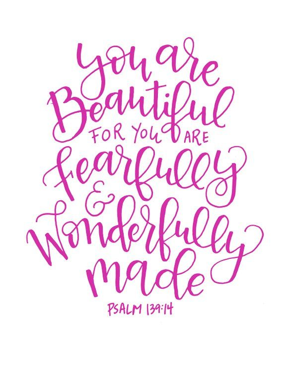 Fearfully and Wonderfully made. Scripture Inspirational Quote   Etsy
