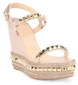 Christian Louboutin Cataclou 120 Studded Patent Leather Espadrille Wedge Sandals  womens shoes 4c2ec4b52