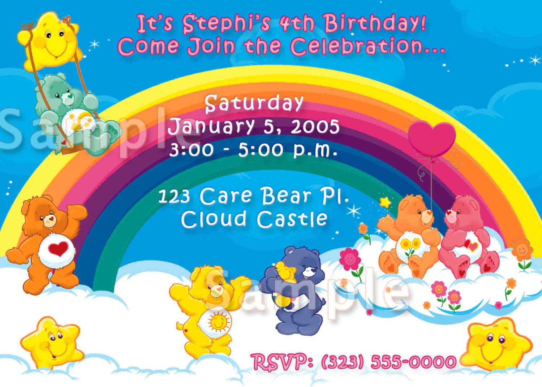 Fantastic Care Bears Birthday Invitations Photos - Invitations ...
