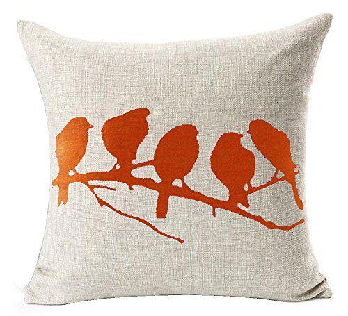 Orange Birds In Tree Branch Beige Ground Cotton Linen Thr Linen Throw Pillow Pillows Throw Pillows