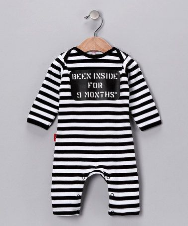 Take a look at this Black & White Stripe Playsuit - Infant by Oh Baby London on #zulily today!