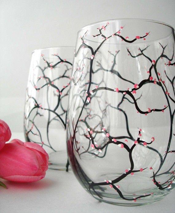 Stemless Spring Cherry Blossom WIne glasses by MaryElizabethArts.com