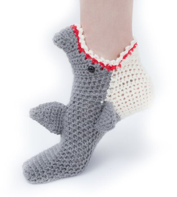 Women\'s Shark Socks CROCHET Pattern, INSTANT DOWNLOAD pdf File ...