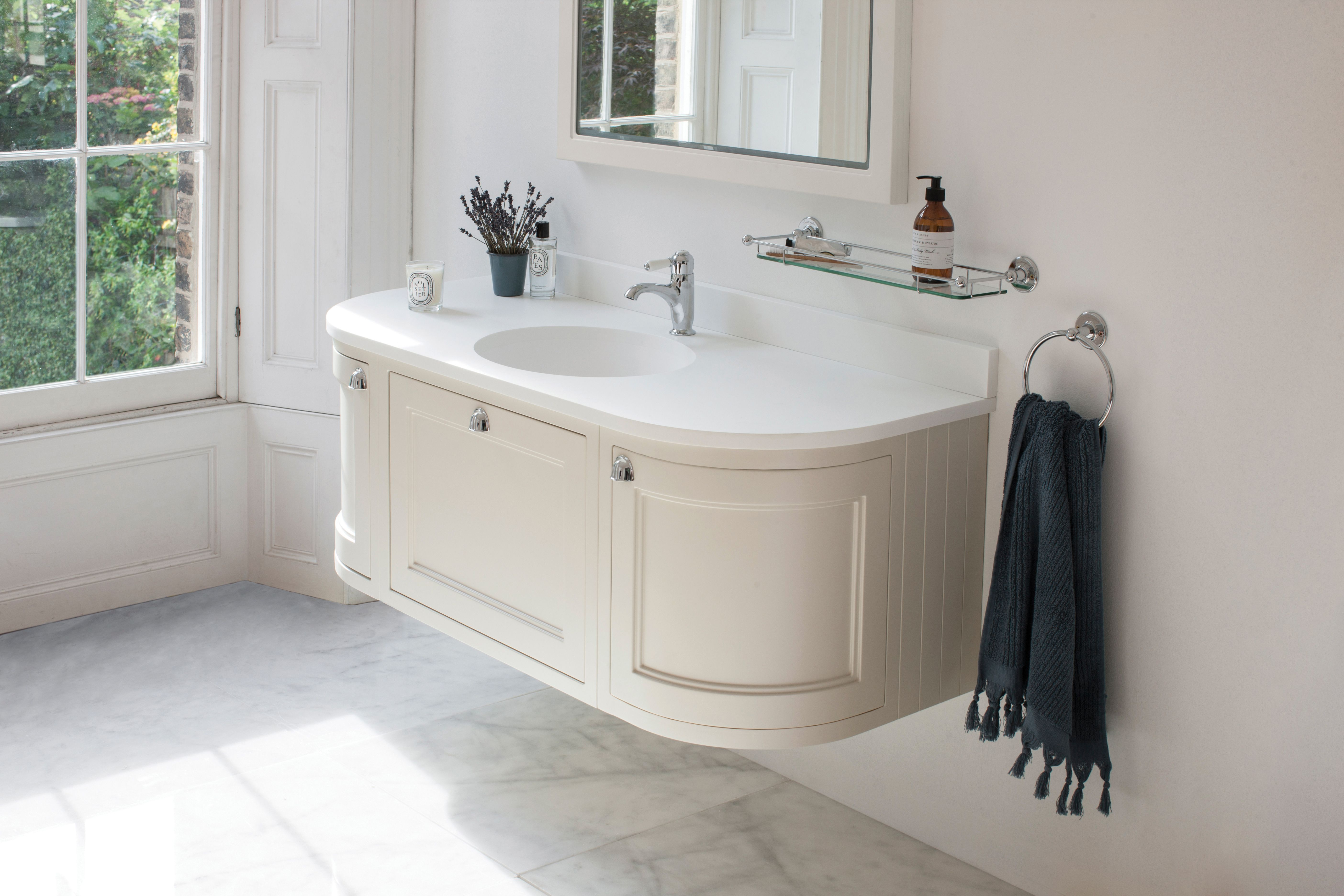 Burlington Bathrooms Wall Hung 134 Curved Vanity Unit Sand And