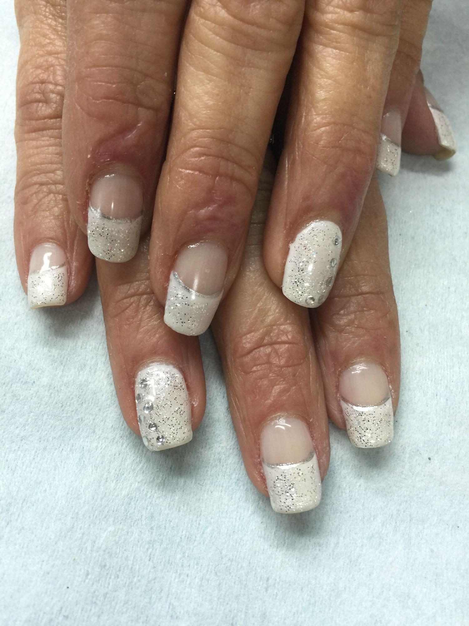 Sparkled Glitter & Rhinestones Big White French Gel polish over non ...