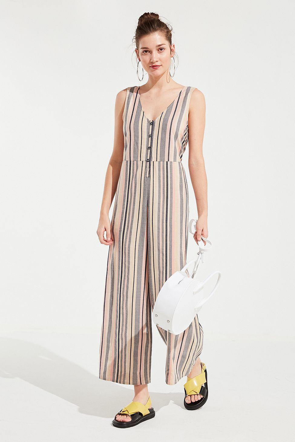 d214d1899d7a Urban Outfitters Uo Sage Striped Button-Down Jumpsuit - Multi ...